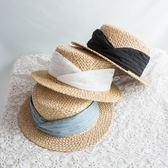 綢緞貼布拉菲草平頂禮帽女夏天小清新遮陽帽韓版草帽海邊沙灘帽子