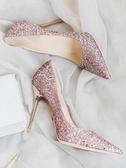 婚鞋紅色婚鞋女2018新款尖頭高跟鞋細跟淺口亮片銀色單鞋婚紗新娘鞋女
