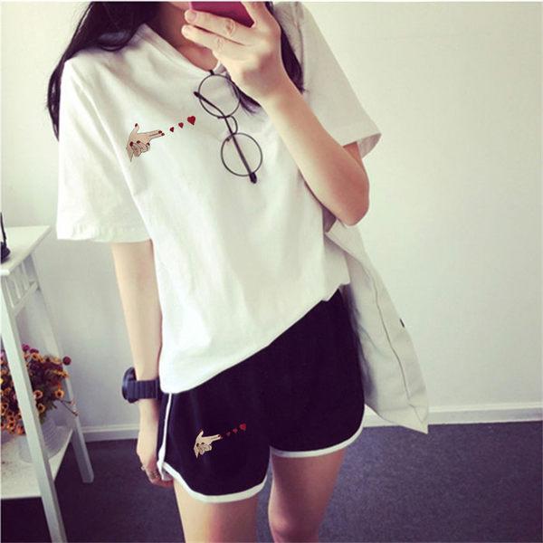 跑步休閒套裝女士夏季正韓大碼寬鬆愛心刺繡短袖短褲運動服兩件套 衣涵閣.