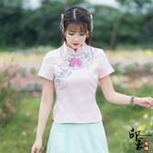 原創文藝9025夏裝新品娃娃領后背單排扣棉麻短袖襯衫女減齡顯瘦潮(N815-A)