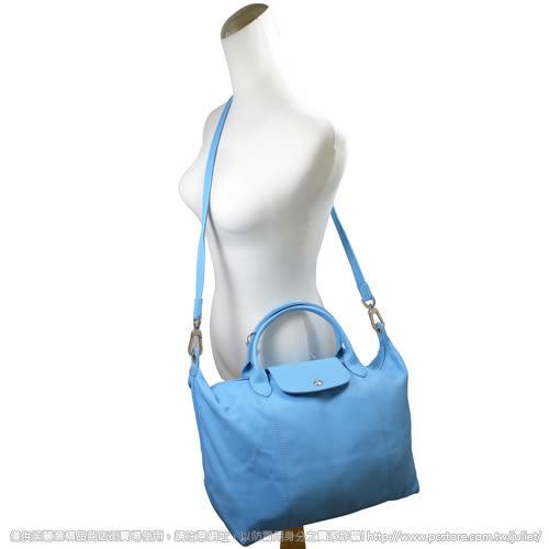 茱麗葉精品【全新現貨】 Longchamp Le Pliage Cuir 折疊小羊皮短把兩用包.水藍 #1515