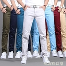 夏季休閒褲男士直筒修身長褲男薄款布褲子寬鬆青年春夏款純棉韓版「時尚彩紅屋」
