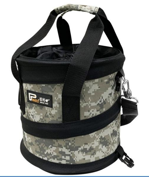 彈簧工具袋 彈簧收納袋 伸縮圓桶手提工作袋 耐磨防潑水 小