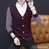 男士新款加厚秋冬季假兩件開衫毛衣韓版針織衫襯衣長袖T恤男   潮流前線