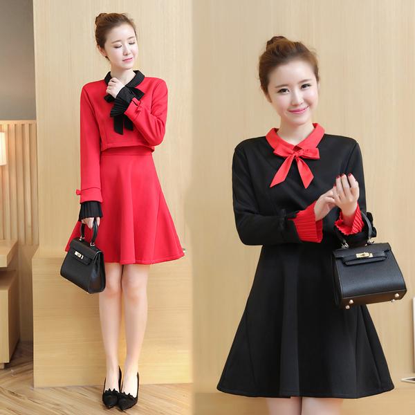 超殺29折 韓國風時尚收腰修身喇叭袖拼接假兩件長袖洋裝