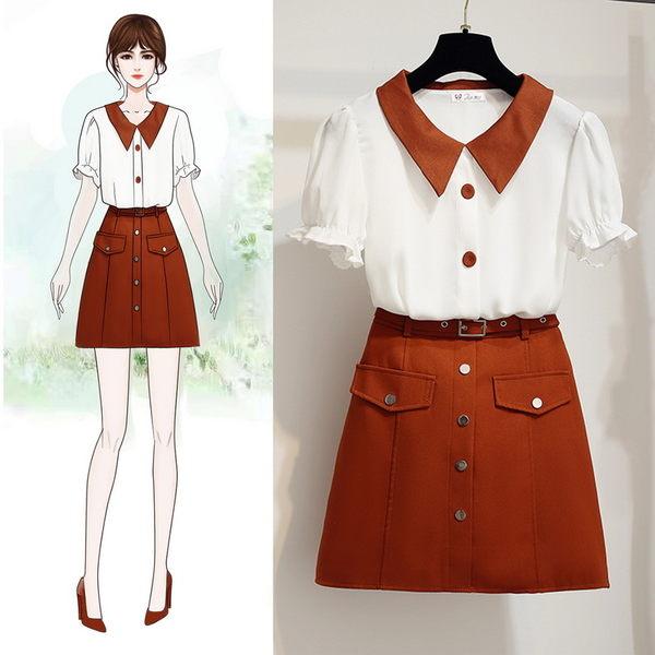 VK旗艦店 韓系時尚拼色雪紡衫高腰半身裙套裝短袖裙裝