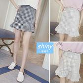 【V1034-1】shiny藍格子-瑕疵特賣.清新顯瘦格子包臀荷葉邊短裙