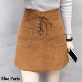 藍色巴黎 ■ 韓版高腰綁帶前口袋絨皮短裙 A字裙 窄裙《3色 S~L》【23368】