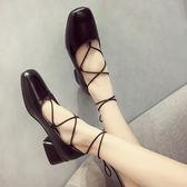 瑪麗珍鞋 粗跟單鞋百搭方頭中跟淺口交叉綁帶瑪麗珍鞋 巴黎春天