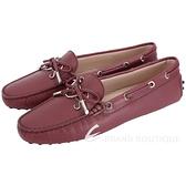 TOD'S Gommino 新版字母防刮牛皮休閒豆豆鞋(女鞋/紅梨色) 1840083-74