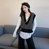 針織馬甲 無袖馬甲學生韓版女外套秋冬外穿寬鬆針織馬夾毛衣背心V領坎肩潮