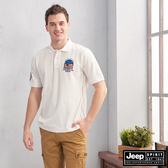 【JEEP】美式徽章圖騰短袖POLO衫(白色)