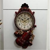 紅木色(-11)歐式掛鐘時尚靜音藝術客廳鐘錶臥室掛錶復古石英鐘