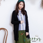 betty's貝蒂思 開襟口袋長版針織罩衫(黑色)