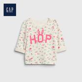 Gap 嬰兒 棉質花卉印花套頭上衣 543566-象牙白