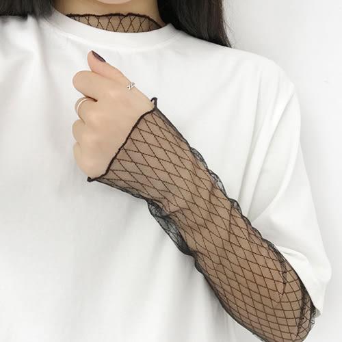 (現貨)黑色透視網布造型內搭上衣 【HA1596】Minuet