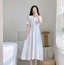 2020長袖新款法式桔梗春秋氣質仙女白色連身裙顯瘦長裙溫柔風裙子 宝贝計劃