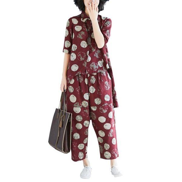 中大尺碼套裝 時尚套裝女夏2019新款胖mm寬鬆不規則波點襯衫 哈倫褲遮肉兩件套