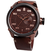 elegantsis Army 特務風雲日期時尚腕錶-古銅/46mm ELJT47-PB09LC