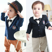 長袖連身衣 假三件 紳士 前開扣 刷毛 男寶寶 爬服 哈衣 小紳士 小花童 Augelute Baby 50781