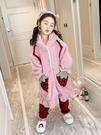 兒童睡衣 套裝春女孩法蘭絨珊瑚絨兒童加絨加厚中大童家居服冬季【快速出貨八折下殺】