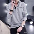 男士長袖T恤秋季青年休閒大碼衣服男翻領棉質POLO衫體恤