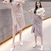 碎花半身裙女2020新款夏季時尚氣質法式中長款褶皺不規則雪紡裙 LF5868【極致男人】