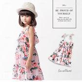 純棉 夏季花草綁帶連身裙 小洋裝 棉麻 蛋糕裙 渡假風 哎北比童裝