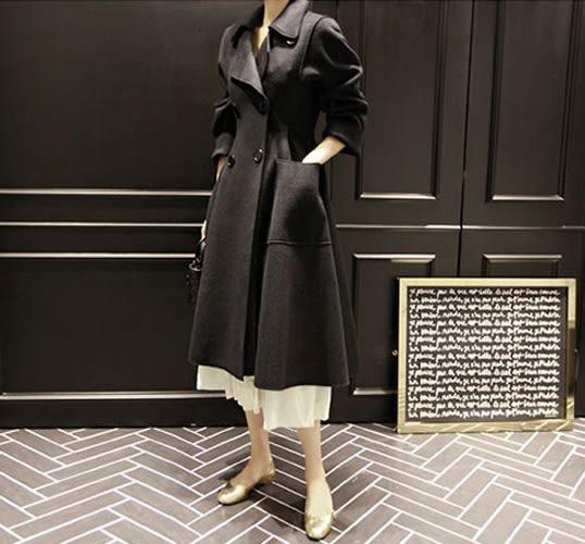 風衣外套 傘狀歐美時尚圈長版收腰毛呢大衣 艾爾莎【TAK4609】