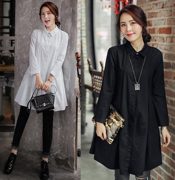卡樂store...韓版大裙擺襯衫長版上衣 2色 M-XL #ms2144