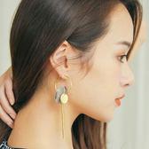 韓製。大理石金屬圓片水鑽耳環【AD062014R1】THEGIRLWHO那女孩