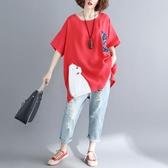新款胖mm中大尺碼女裝短袖t恤衫 100kg顯瘦寬鬆貼布口袋遮肚子上衣