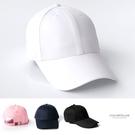 棒球帽 素色系帆布銅扣帶彎沿帽 出門必備...