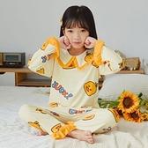 【12H出貨 免運】兒童睡衣女純棉春秋季長袖套裝娃娃領網紅可愛公主女孩保暖家居服 妮妮