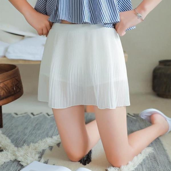 安全褲女夏防走光雙層外穿保險褲雪紡裙褲打底褲薄款寬鬆三分短褲 三角衣櫃