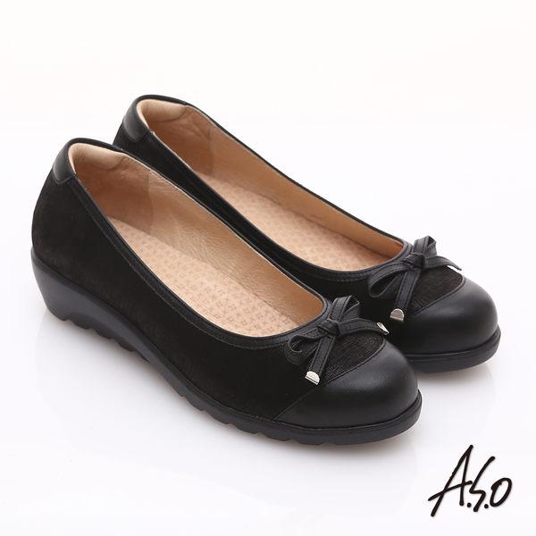 A.S.O 舒適通勤 金箔真皮蝴蝶結奈米楔型跟鞋 黑