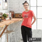 【JEEP】女裝圖騰短袖T恤-橘紅色
