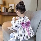 女童襯衫上衣秋款韓版寶寶時髦公主長袖純棉白襯衣洋氣小童娃娃衫 快速出貨