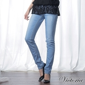 Victoria 淺藍個性方袋小直筒褲-女