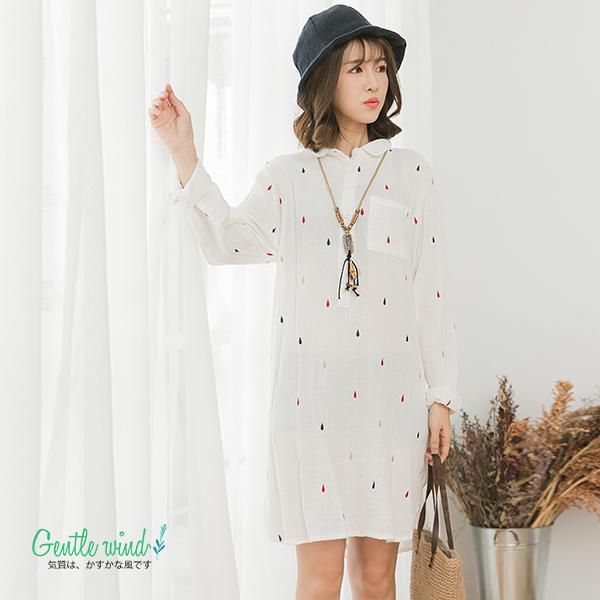 雨滴刺繡襯衫洋(白色)-F【Gentle wind 輕輕.吹】