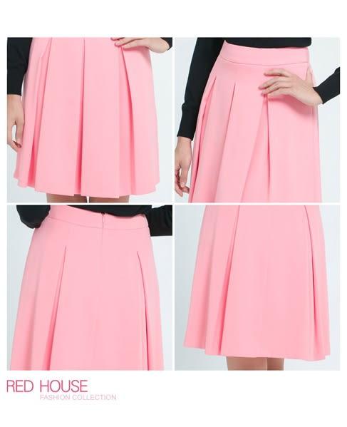 RED HOUSE-蕾赫斯-甜美粉色簡單摺裙 (粉色) 過年驚喜價 任選2件799元