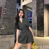 連體褲 黑色工裝連體褲女高腰顯瘦2021夏季氣質小個子雪紡西裝短褲連衣褲