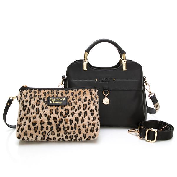 PLAYBOY-  三層手提包附長背帶 Leopard時尚豹豹系列 -黑色