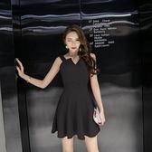 現貨黑L洋裝性感不對稱連身裙小香風黑色無袖吊帶A字蓬蓬小禮服18410