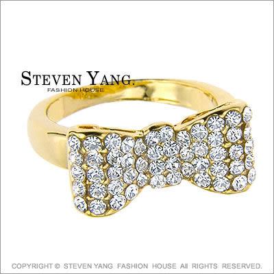 戒指 正白K飾「公主系列」大蝴蝶結 晶鑽鋯石 兩色任選