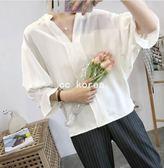 立領蝙蝠袖荷葉邊雪紡襯衫 CC KOREA ~ Q17756