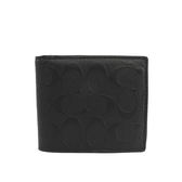 【COACH】皮革立體LOGO壓紋短夾 (黑色) F75371 BLK