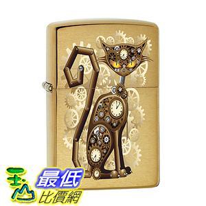 [美國直購] Zippo Lighter: Steampunk Cat-Brushed Brass 打火機