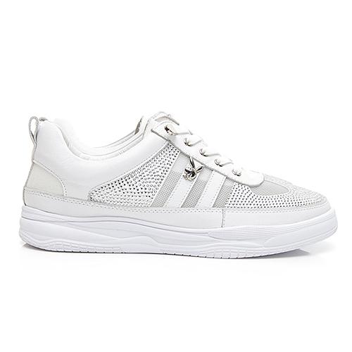 PLAYBOY璀璨星鑽 真皮綁帶休閒鞋-白(Y6256)