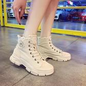 ins網紅馬丁靴女2020秋新款英倫風復古厚底繫帶機車靴時尚短筒靴 雙12狂歡購